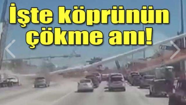 Köprü, otomobillerin üzerine böyle çöktü