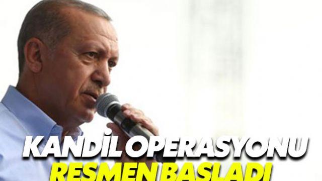 Cumhurbaşkanı Erdoğan Kandil'e operasyonun başladığını duyurdu
