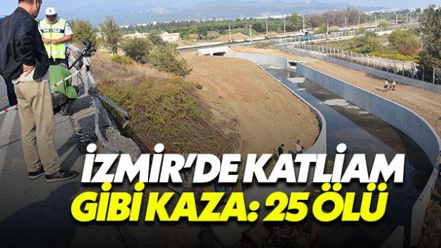 İzmir'de kaçak göçmenleri taşıyan kamyon dere yatağına uçtu