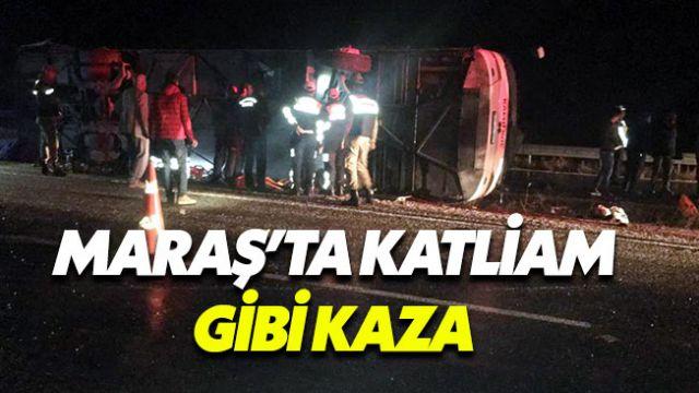 Kahramanmaraş'ta yolcu otobüsü şarampole devrildi