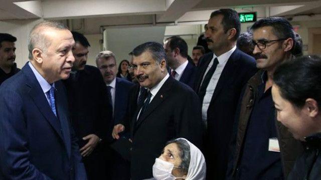 Erdoğan'dan çöken binadaki hastalara ziyaret