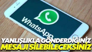 Whatsapp'ta yanlışlıkla gönderilen mesaj silinebilecek