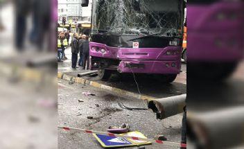 Aksaray'da otobüs tramvay hattına girdi seferler iptal