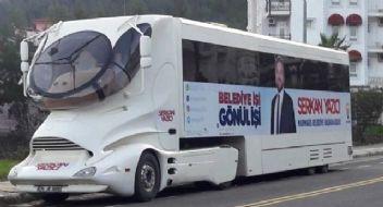 AK Partili Marmaris adayından uzay araçlı seçim otobüsü