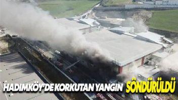 Hadımköy fabrika yangınında soğutma çalışmaları sürüyor